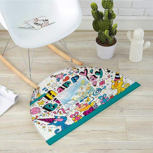 Birthday Style Notepads - Kids Birthday Semicircle Doormat Math Note Pad Inspired Design Cartoon Style Animals Cats Present Image Halfmoon doormats H 51.1