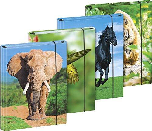 Brunnen 1041626File Folder A5Board Lever Arch File with Elastic Strap, 4Animal Motif (Japan Import)