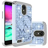 Cheap LG Stylo 3 Case,Berry Accessory Studded Rhinestone Crystal Bling Hybrid [ Dual Layer ] Armor Case Cover for LG Stylo 3 2017 – Marble Texture