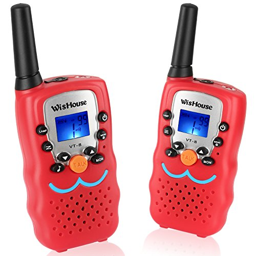 Wishouse Cheap Kid's Walkie Talkies, Mini Two way radios FestIval Gift Toys for boys,Cool Toys Free Talk Walky Talky Long range For Spy Games Hiking Camping Outdoor Activities(VT-8 Red, 1 Pair)
