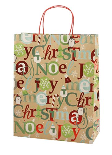 Christmas X-Large Gift Bags with Glitter and Foil Hotstamps, Kraft, 8 Pack
