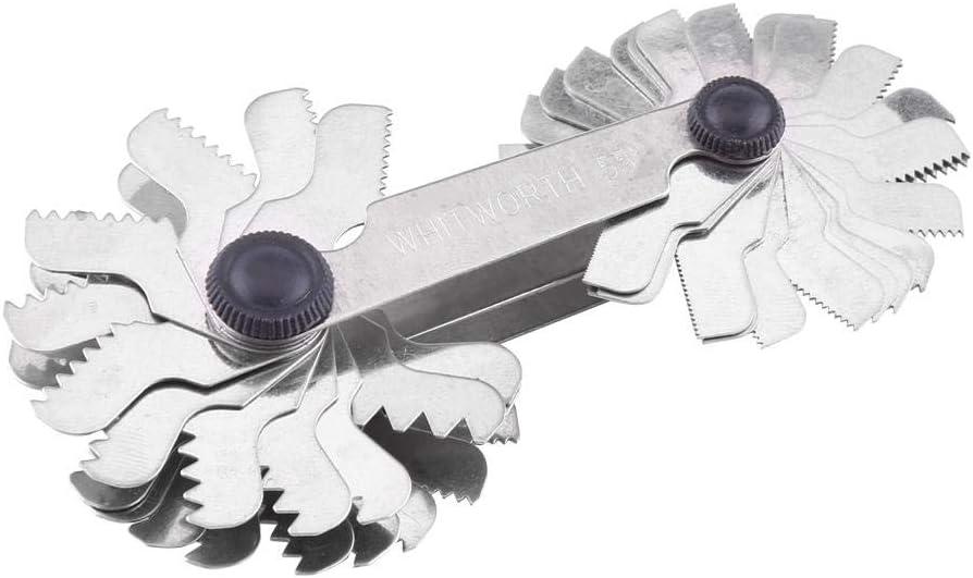 52PC 51//pezzi in acciaio INOX a vite Pitch gauge 60/e 55/gradi filo spina calibro strumento di misurazione metrica imperiale