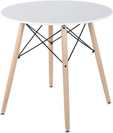 lyrlody Table de Salle à Manger Ronde Blanche Style Nordique ...