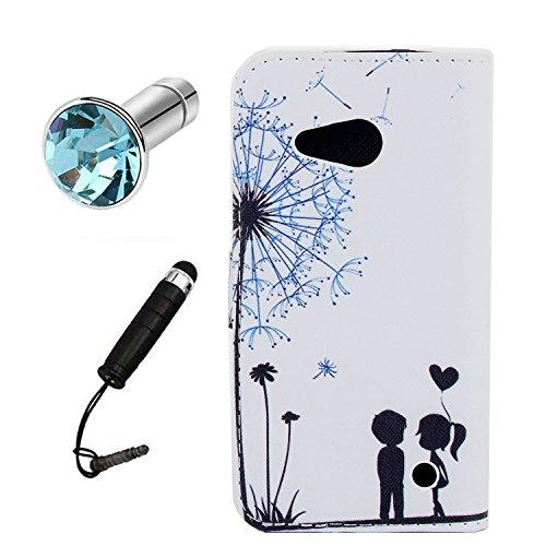 Lusee® PU Caso de cuero sintético Funda para Microsoft Nokia lumia 550 4.7 pulgada Cubierta con funda de silicona amantes de diente de león