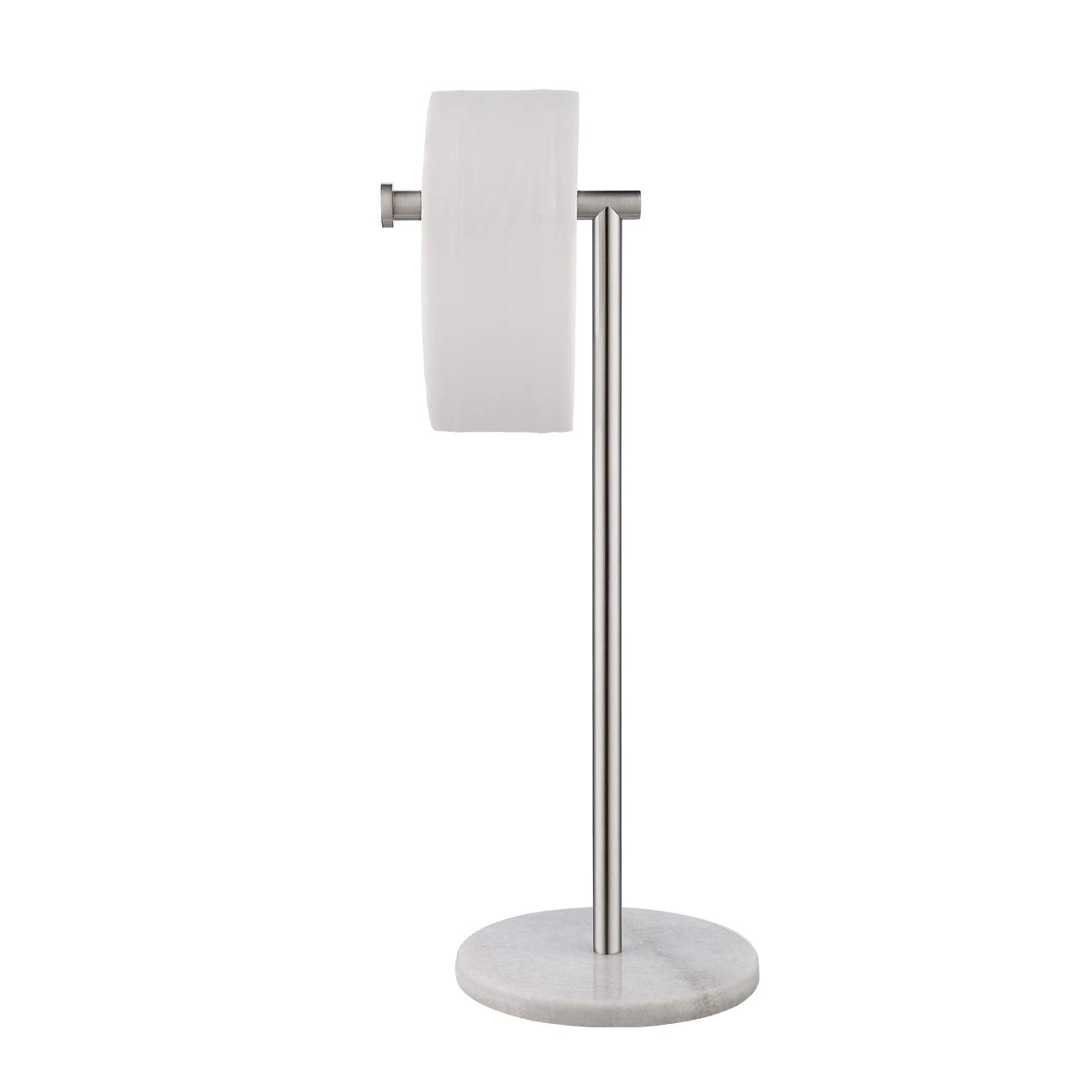 KES Natural Marble Toilet Paper Holder Stand Tissue Roll Holder with Modern Marble Base, SUS304 Stainless Steel Brushed Finish BPH284S1-2