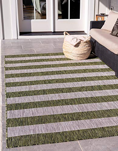 Unique Loom Outdoor Striped Collection Modern Transitional Indoor and Outdoor Flatweave Green  Area Rug (7' 0 x 10' 0) ()
