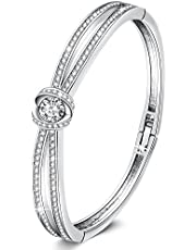 GEORGE · SMITH Classic Silver Bracelets for Women Rose Gold Bangle with Crystals Birthday Jewelry Gifts for Women Girls