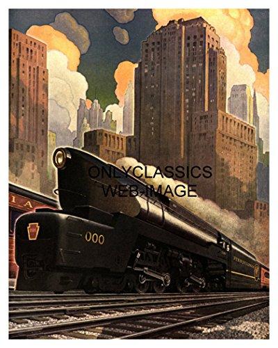 (OnlyClassics 1940 Art Deco Pennsylvania Railroad Train Poster Streamlined Locomotive Graphics)