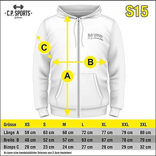 C.P.Sports Kapuzenjacke Full Zip Hooded Hoodie Sweater Sweatshirt Bodybuilding Pullover Kapuzenpullover Farbe: Wei/ß//Schwarz // Grau Trainingsbekleidung