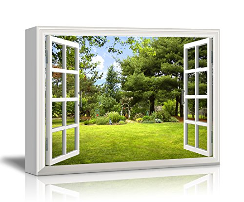 Canvas Print Wall Art - Window Frame Style Wall Decor - Beautiful Garden/Backyard with Green Trees and Clear Blue Sky in Spring | Giclee Print Gallery Wrap Modern Home Decor. Stretched & Ready to Hang - 24