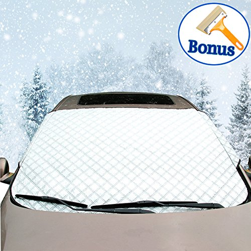"Thickened Car Windshield Snow Cover + Bonus Snow Ice Scraper by Big Hippo-Frost Windshield Cover Snow Ice Protector-Extra Large Heavy Duty Snow Covers Fit for Most Vehicle 62.99""x43.30"""