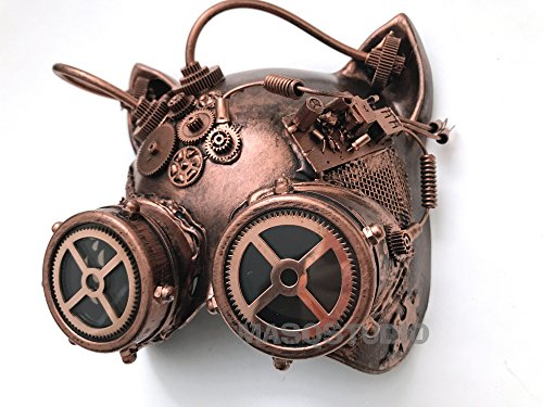 MASQSTUDIO Costume Cosplay Steampunk Cat Woman Dress up Party Masquerade Cat Mask (Rose Gold) -