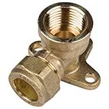 Bulk Hardware BH02299 Compression Fitting Wall Plate Elbow, 15 mm - Brass