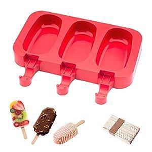 Popsicle Molds Stampo Per Gelato Popsicle Maker Popsicle Stampi Ghiacciolo Rosso Ellittico Con Popsicle Stick beicemania 3 spesavip