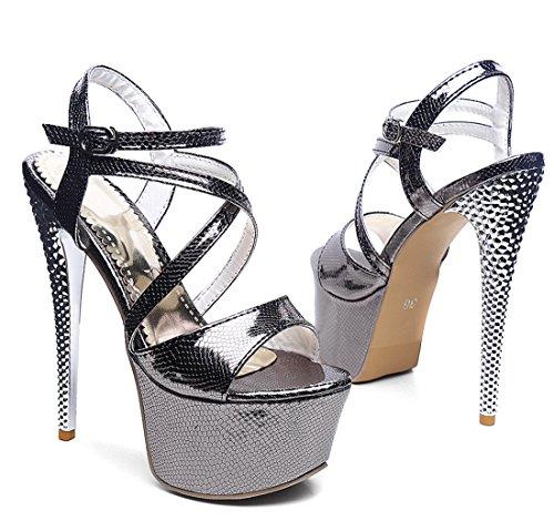 YE Damen Extrem High Heels Plateau Stiletto Lack Sandalen Pary Pumps mit Riemchen Schuhe Schwarz