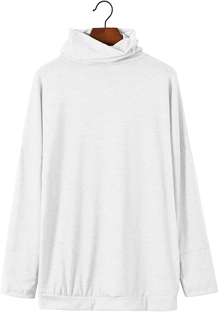 Baiggooswt Womens Long Sleeve Pocket Solid Tops Turtleneck Sweatershirt Casual Loose Sport Shirts Blouses