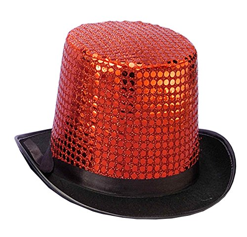 Circus Dance Costume - Forum Novelties Men's Sequin Novelty Top Hat, Red, One Size