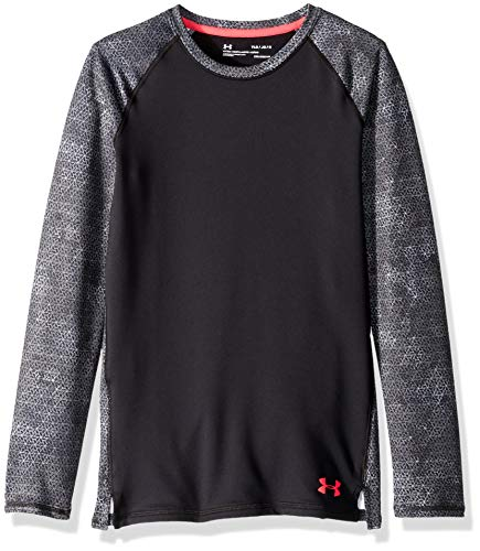Under Armour Girls' Coldgear Crew Neck, Black (001)/Penta Pink, Youth Small