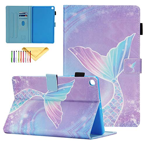 """Galaxy Tab A 10.1 Case 2019 SM-T510/T515, Cookk Colorful PU Leather Shell with Magnetic Closure Stand Protective Cover Kids for Samsung Galaxy Tab A 10.1"""" 2019 Release, Mermaid Fishtail"""