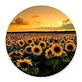 Sunflower mousepad, floral mouse pad, circle mousepad, round mousepad