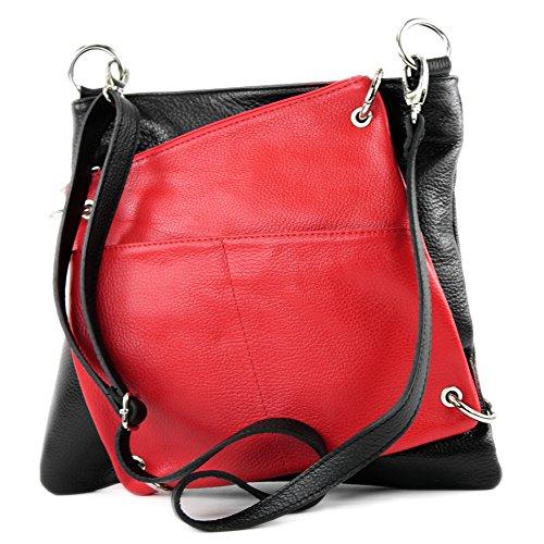 modamoda de - Made in Italy - Bolso cruzados para mujer blanco / rojo