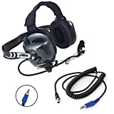 Rugged Radios H41-CF Carbon Fiber Style Behind The Head Two Way Radio Headset with CC-Off Coil Cord Adapter for Offroad Jacks & Intercoms