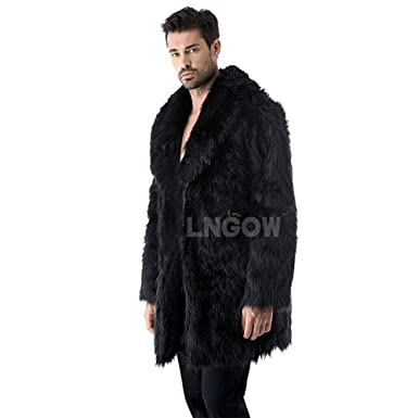 ef76f58f5e LNGOW Mens Soft Faux Fur Coat for Winter Warm Long Thicken Overcoat Jacket ( Black,