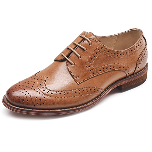 Tallado Lace Cuero up Oxfords Zapatos De Bajo Perforado Brogue Mujeres Odema Wingtip Talon Brown Vestido wnp4vfqT