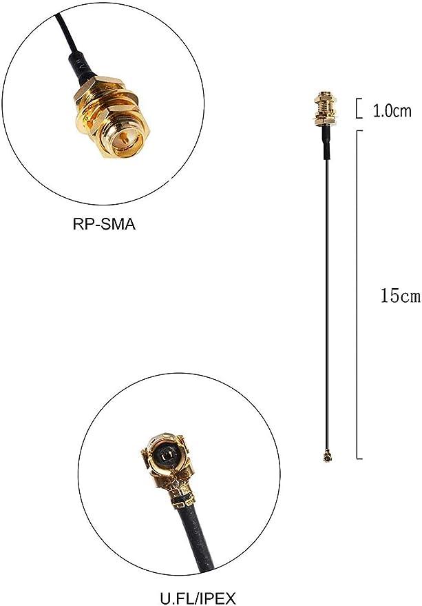 HUACAM - Juego de 2 antenas HCM82 a 2,4 GHz 8dBi 5 GHz 5.8 GHz, doble banda, Wi-Fi RP-SMA sin Amped, omnidireccional, de gran alcance, con MINI PCIe ...
