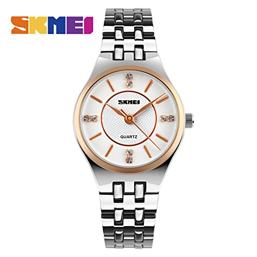 SKMEI Women Fashion Casual Quartz Watch Relogio Feminino Relojes Mujer Stainless Steel Waterproof Wristwatches Ladies Watches