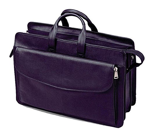 Winn International Harness Cowhide Leather Deluxe Computer Briefcase in Black (Rolling Computer Deluxe Brief)
