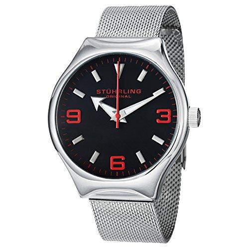 Mens Elite Bracelet Watch - Stuhrling Original Men's 184.331164 Aviator Falcon Eagle Elite Swiss Quartz Mesh Stainless Steel Black Dial Bracelet Watch