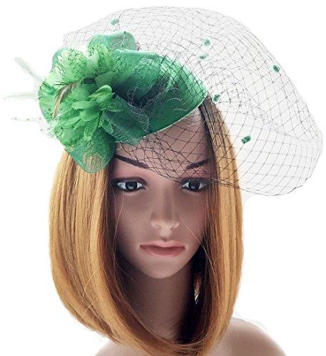 Fascinator Hats Pillbox Hat British Bowler Hat Flower Veil Wedding Hat Tea Party Hat (Green) ()