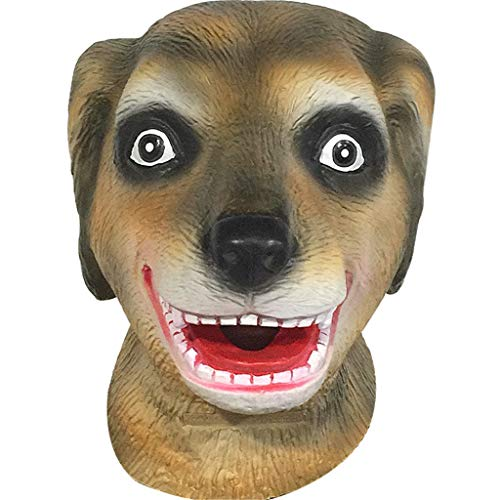 QIAO Dog Head Mask Halloween Props Animal Mask Decoration Cosplay Party Tricks Latex Props Costume Ball Headgear (Color : A) -
