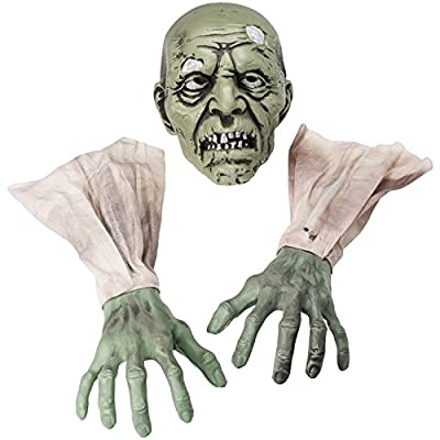 Prextex Halloween Zombie Face and Arms Lawn Stakes for Best Halloween Graveyard Décor Halloween Decorations from Prextex