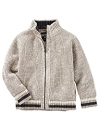 Oshkosh Boy's Khaki Ski Lodge Sweater with Zip Front