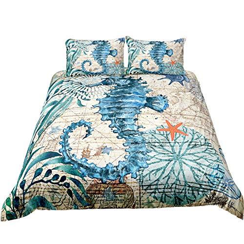 idee-home Seahorse Ocean Animals Kids Bedding Sets | Indigo Hawaiian Duvet Cover Bed Set Beach Theme Quilt Cover Set for Summer (Twin) (Ideas Indigo Bedroom)