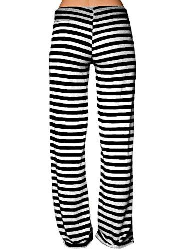 LOSRLY Women Plus Size Striped Wide Leg Drawstring High Waist Palazzo Yoga Pants-Black XXL 20 22