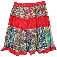 Mogul Womens Skirts Bohemian Red Patchwork Cotton Crinkle Skirt S
