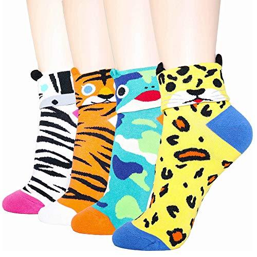 DearMy Womens Famous Cartoon Japanese Animation Print Casual Cotton Blend Crew Socks | Art Patterned| Fancy Design Crew Socks (Zoo animal 4 Pairs)