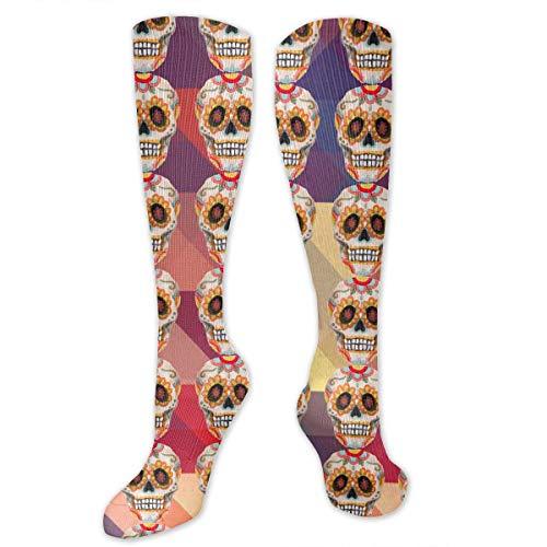 Sugar Skull Flowers Mexico Mexican Tradition Men & Women Knee High Socks Soft Boot Socks Cosplay Socks For Party Halloween School ()