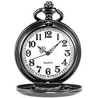AMPM24 Vintage Negro Hombre Mujer Damas Cuarzo Reloj de Bolsillo Pendiente Reloj Cadena de Regalo WPK026