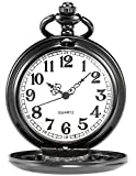 AMPM24 Vintage Black Men's Women Ladies Quartz Pendent Pocket Watch Clock Chain Gift WPK026