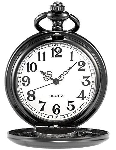 AMPM24 Vintage Black Men's Women Ladies Quartz Pendent Pocket Watch Clock Chain Gift WPK026 by AMPM24 (Image #8)