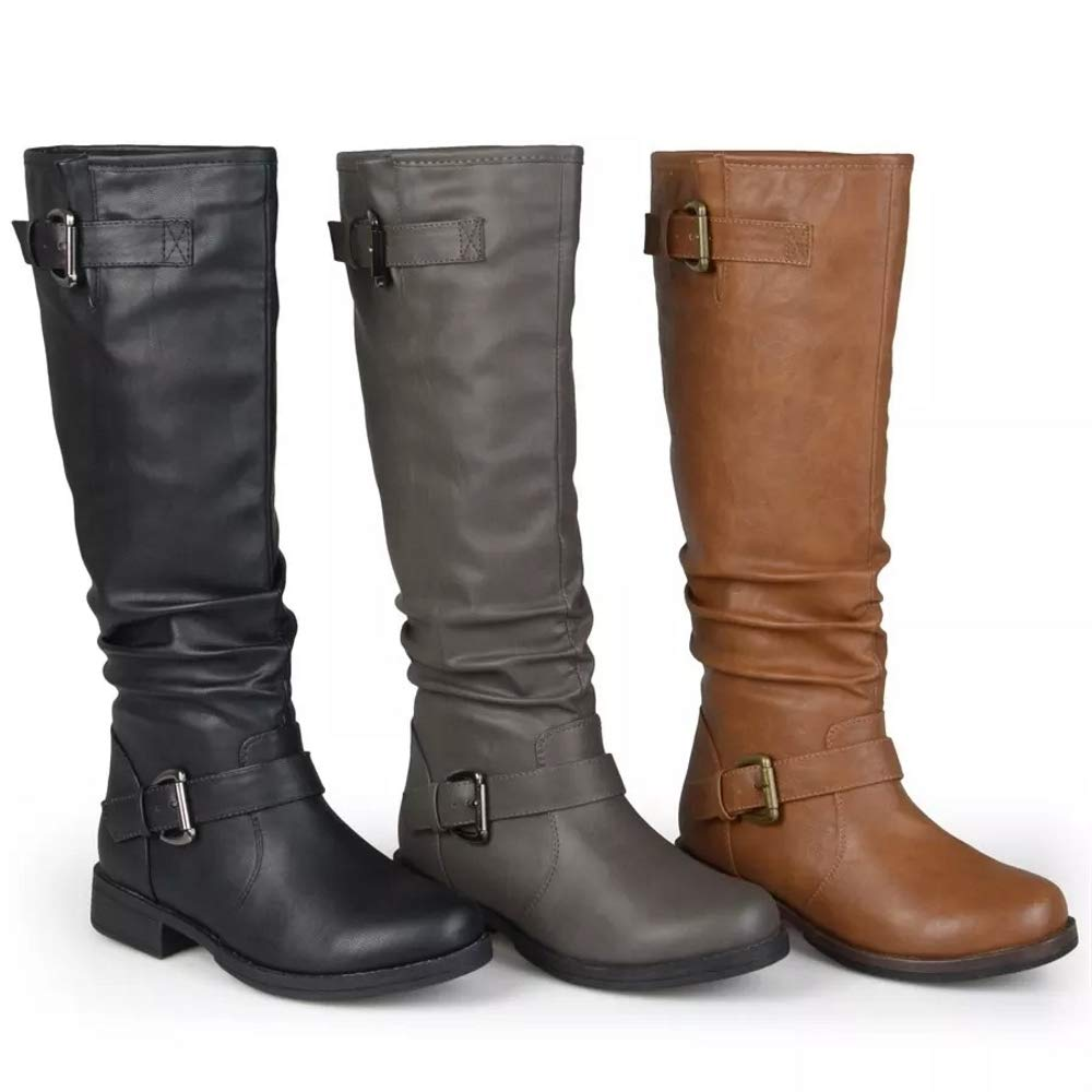 26031af2e27 Amazon.com  Meilidress Womens Winter Knee High Boots Wide Calf Tall Riding  Military Moto Chunky Low Heel Flat Shoes  Clothing