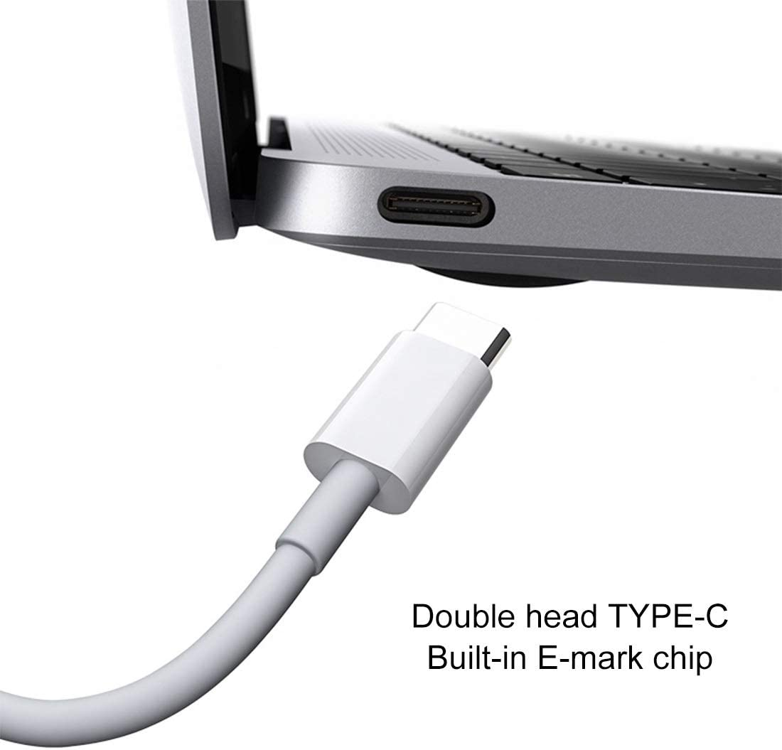 Cable Length: 2m JIANGNIUS Cable PD 5A USB-C//Type-C Male to USB-C//Type-C Male Fast Charging Cable White Color : White