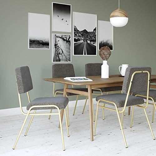 Novogratz Lex Upholstered Dining Chair, Gold Frame & Light Grey Linen Upholstery (Metal Chairs Dining Grey)