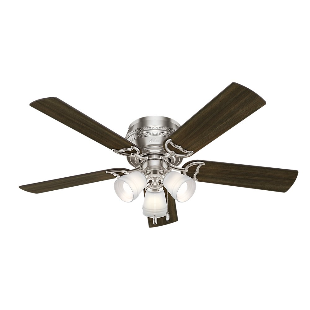 Hunter Indoor Low Profile Ceiling Fan, with pull chain control – Prim 52 inch, Brushed Nickel, 53387