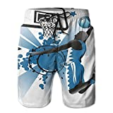 Richard Lyons Silhouette Of Basketball Player Jumping Success Stars Men's Quick Dry Beach Shorts Casual Comfortable Surf Shorts XXL