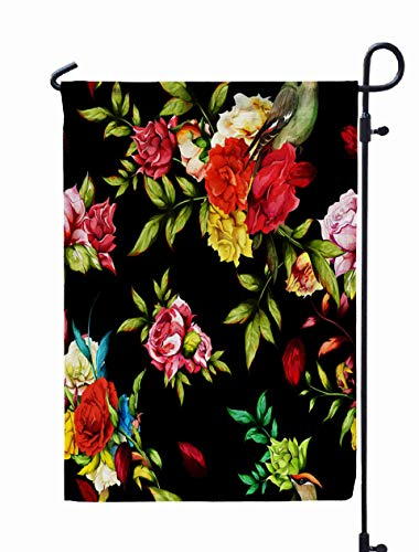 GROOTEY Welcome Outdoor Garden Flag Home Yard Decorative 12X18 Inches Floral Background Pattern Peony Roses Leaves Around Black Stock Double Sided Seasonal Garden Flags ()
